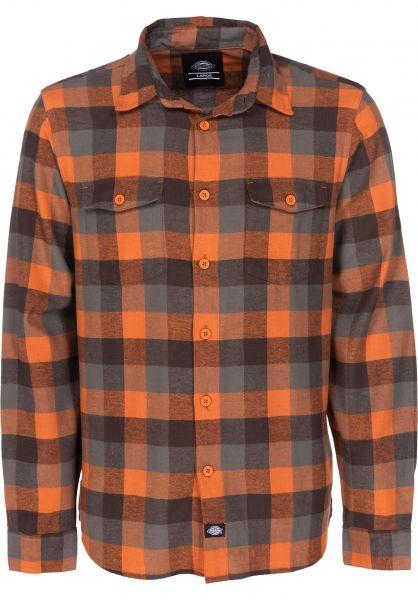 Dickies Hemden langarm Luray orange Vorderansicht
