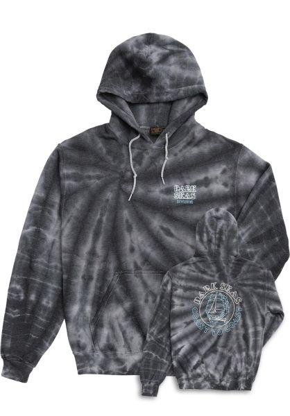 Dark Seas Hoodies Water Level Tie Dye Pullover Fleece Women black vorderansicht 0445910