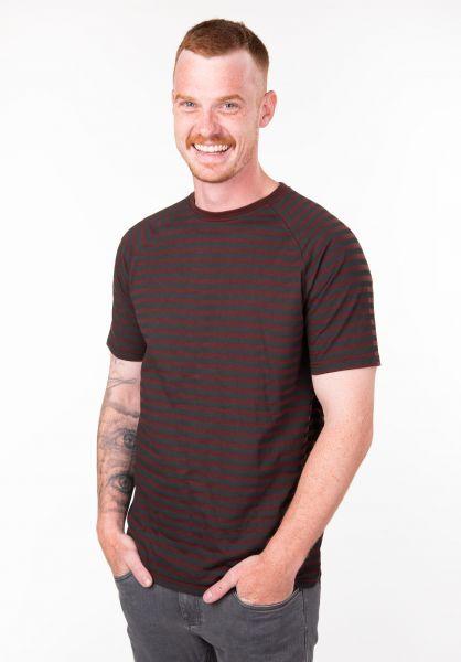 TITUS T-Shirts Tobias deepburgundy-striped vorderansicht 0397475