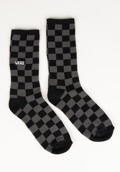 Vans Socken Checkerboard Crew II black-charcoal vorderansicht 0631981