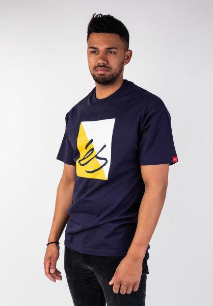 ES T-Shirts Split Block navy vorderansicht 0399881