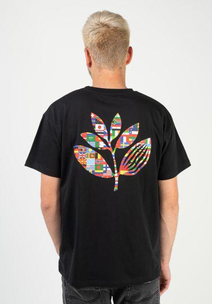 Magenta T-Shirts Plant Flag black vorderansicht 0322554