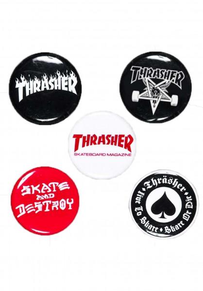 Thrasher Verschiedenes Logo-Buttons-5er no color Vorderansicht