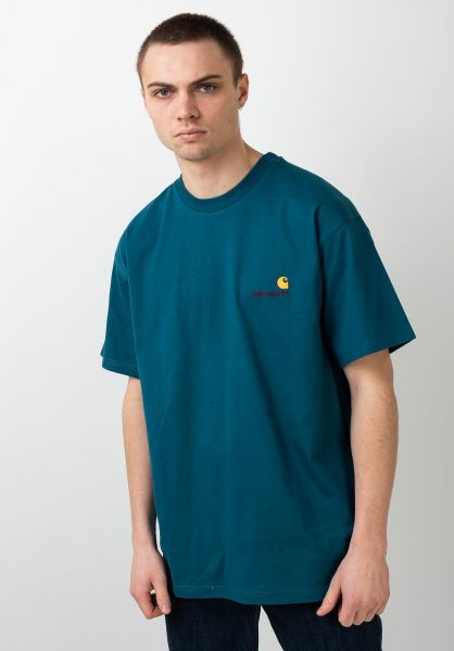 Carhartt WIP T-Shirts American Script moodyblue vorderansicht 0399768