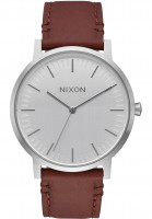 Nixon Uhren The Porter Leather silver-brown Vorderansicht