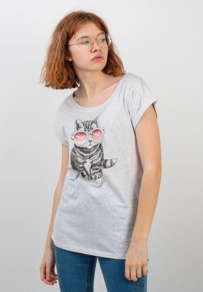 iriedaily T-Shirts Iriecat whitemelange vorderansicht 0399178