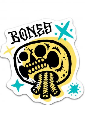 Bones Wheels Earth Rollers Yellow Skull Sticker