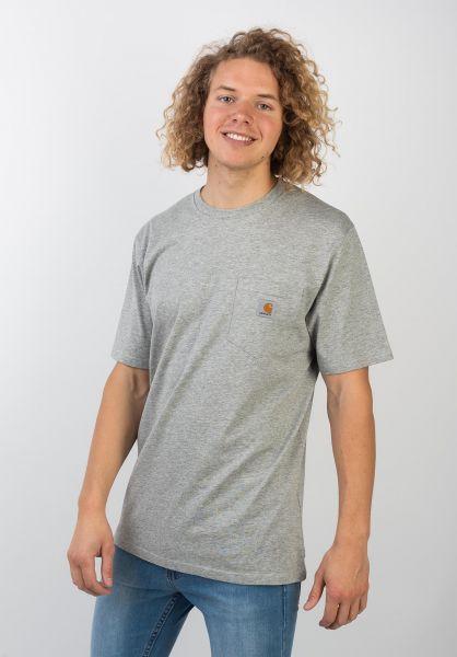 Carhartt WIP T-Shirts Pocket greyheather vorderansicht 0393365