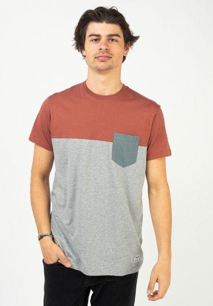 iriedaily T-Shirts Block Pocket grey-red vorderansicht 0394022