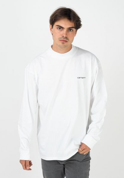 Carhartt WIP Longsleeves Mockneck Script Embroidery white-black vorderansicht 0383776