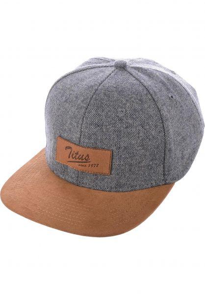 TITUS Caps Steve Leather Snapback bluemottled-camel vorderansicht 0565126
