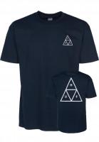 HUF T-Shirts Triple Triangle navy-white Vorderansicht