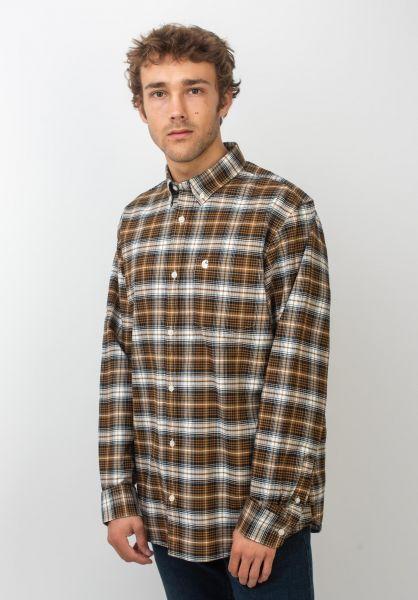 Carhartt WIP Hemden langarm Linville linvillecheck-hamiltonbrown-wax vorderansicht 0411949