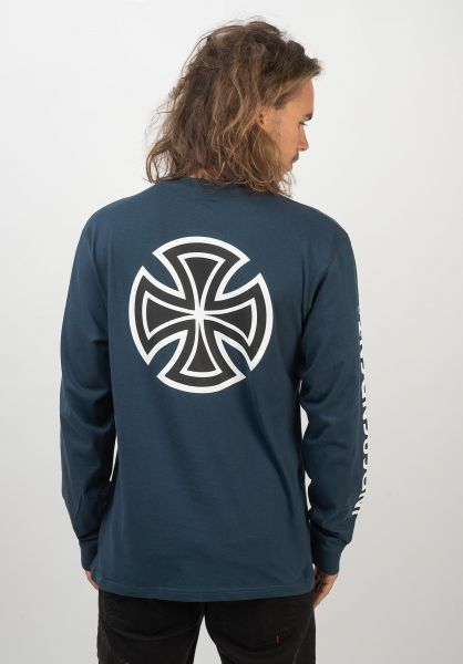 Independent Longsleeves Bar Cross Sleeveprint navy vorderansicht 0382674