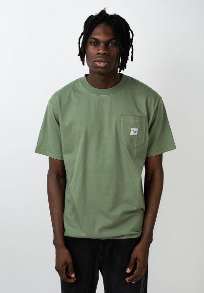 TITUS T-Shirts Script Pocket oil-green vorderansicht 0399514