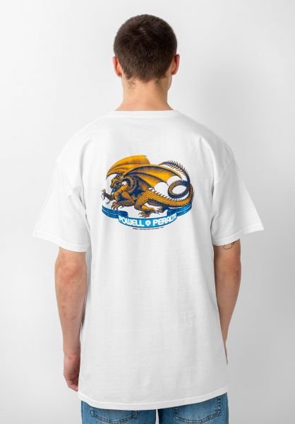 Powell-Peralta T-Shirts Oval Dragon white vorderansicht 0037557