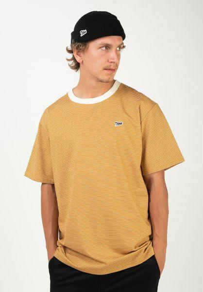 TITUS T-Shirts Fedja nugget-gold-striped vorderansicht 0320907