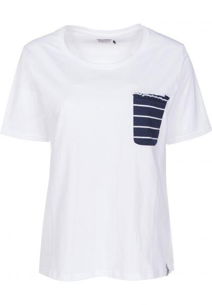 Cleptomanicx T-Shirts Port Pocket white Vorderansicht