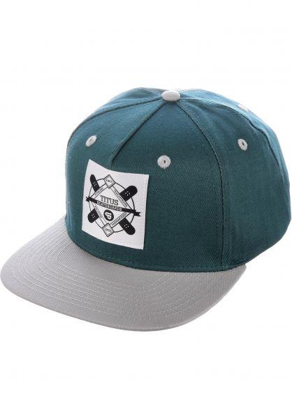 TITUS Caps Emblem Snapback petrol-grey vorderansicht 0564855