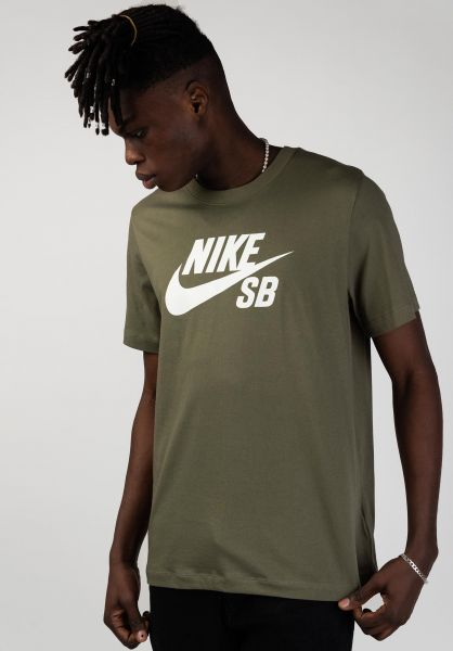 Nike SB T-Shirts DFT Icon Logo mediumolive-white vorderansicht 0394809