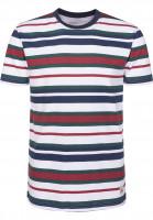 Cleptomanicx T-Shirts Multi Stripe darknavy Vorderansicht