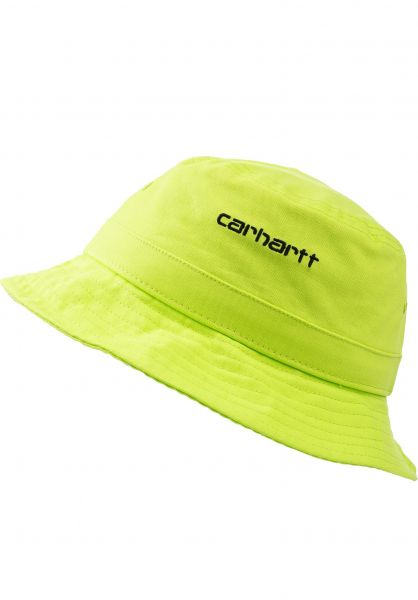 Carhartt WIP Hüte Script Bucket Hat lime-black vorderansicht 0580362
