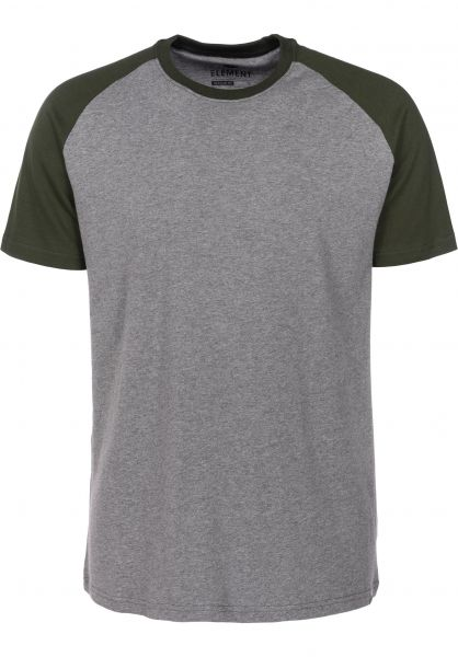 Element T-Shirts Basic Raglan greyheather-green Vorderansicht