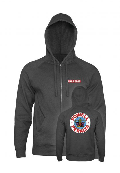 Powell-Peralta Zip-Hoodies Supreme charcoal-heather vorderansicht 0454334