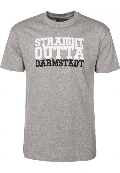 GUDE T-Shirts Straight Outta Darmstadt grey Vorderansicht
