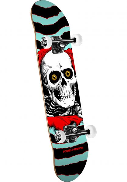 Powell-Peralta Skateboard komplett Ripper Mini one off-turquoise-red Vorderansicht