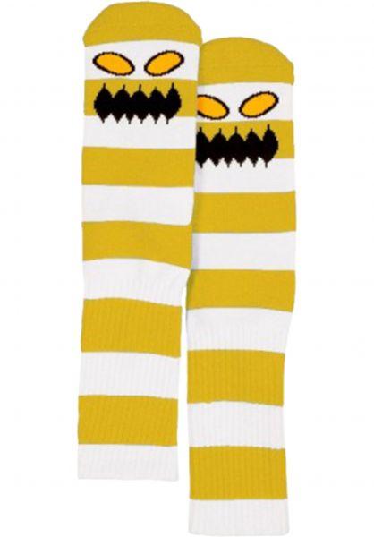 Toy-Machine Socken Monster Big Stripe mustard vorderansicht 0631603