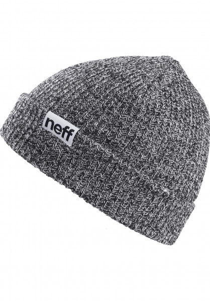 Neff Mützen Fold Heather black-white Vorderansicht