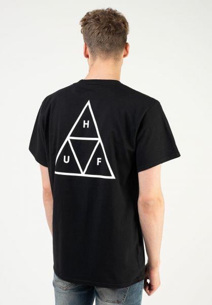HUF T-Shirts Triple Triangle black vorderansicht 0390861