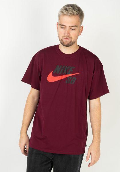 Nike SB T-Shirts DFT Icon Logo darkbeetroot-chilered vorderansicht 0394809