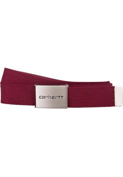Carhartt WIP Gürtel Clip Belt Chrome mulberry Vorderansicht