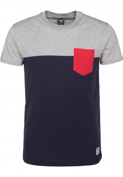 iriedaily T-Shirts Block Pocket 2 blue-red Vorderansicht