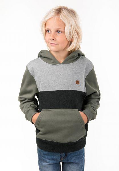 TITUS Hoodies Timo Kids olive-darkgreymottled-greymottled vorderansicht 0444451