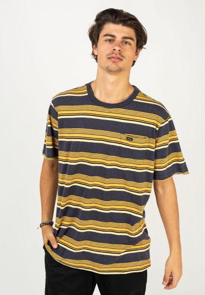 RVCA T-Shirts Ventura Stripe moodyblue vorderansicht 0322457