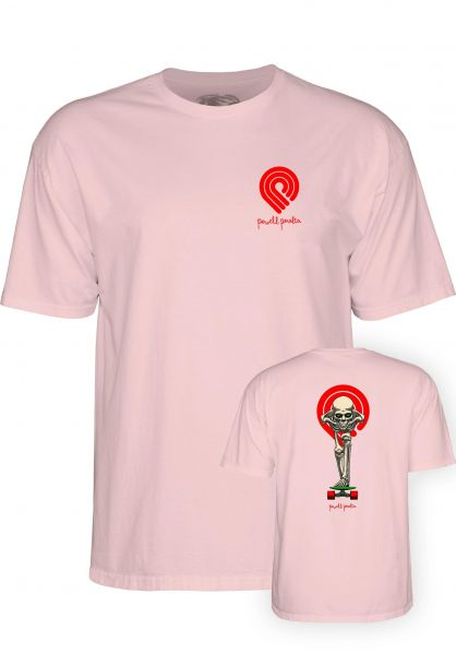 Powell-Peralta T-Shirts Tucking Skeleton pink vorderansicht 0398314