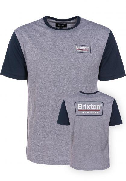 Brixton T-Shirts Palmer heathergrey-navy Vorderansicht