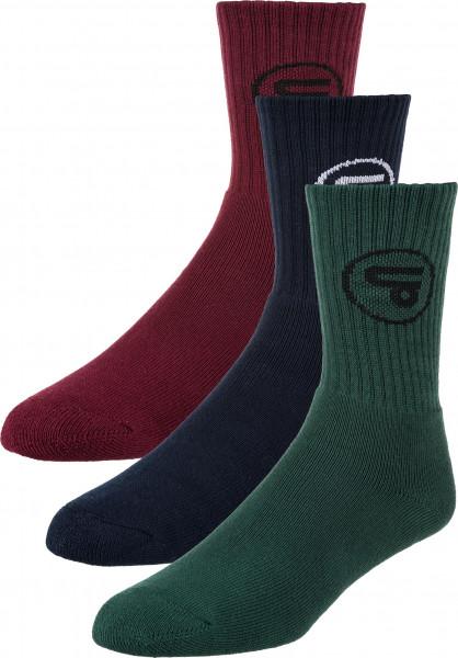 TITUS Socken Classic Icon 3er Pack burgundy-navy-forestgreen Vorderansicht