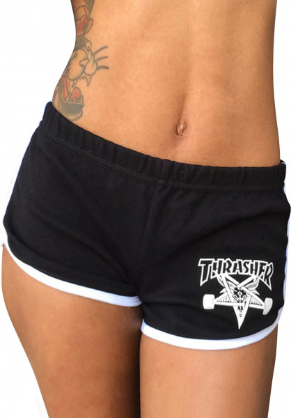 Thrasher Chinos und Sweatshorts Skategoat Night Shorts black-white Vorderansicht