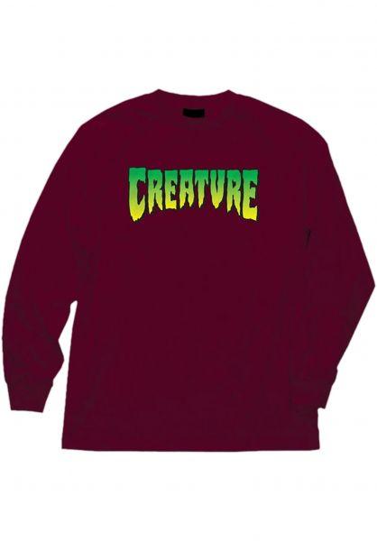 Creature Longsleeves Logo burgundy vorderansicht 0383715