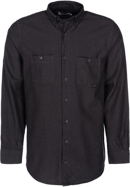 Reell Hemden langarm Herringbone darkgrey vorderansicht 0411836