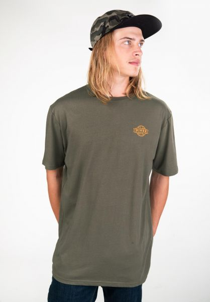 TITUS T-Shirts Peppino Backprint olive vorderansicht 0397515
