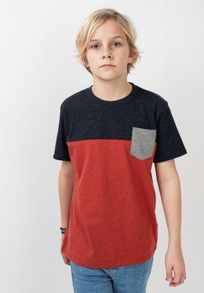 TITUS T-Shirts Colourblock Kids rostheather-deepnavymottled-greymo vorderansicht 0320801