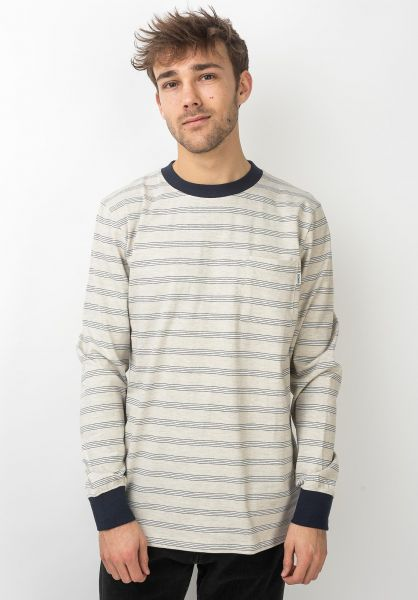 Wemoto Longsleeves Smith Stripe Pocket sandmelange-navyblue vorderansicht 0383633