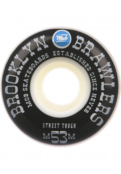 MOB-Skateboards Rollen Brooklyn Brawlers 100A white-black-blue Vorderansicht