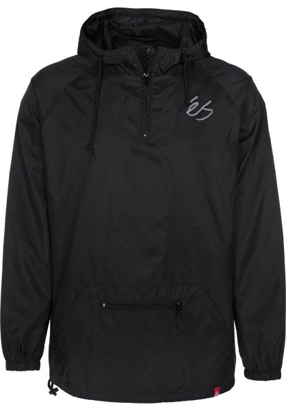 ES Windbreaker Packable Anorak black Vorderansicht