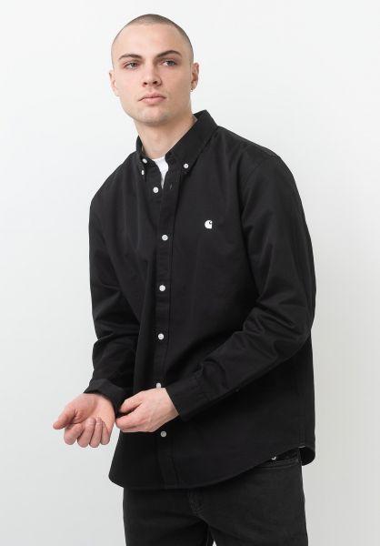 Carhartt WIP Hemden langarm Madison black-white vorderansicht 0411884